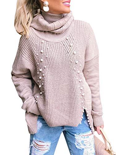 MsLure Damen Herbst Rollkragenpullover Perlen Oversize Langarm Pullover Strickpullover Violett
