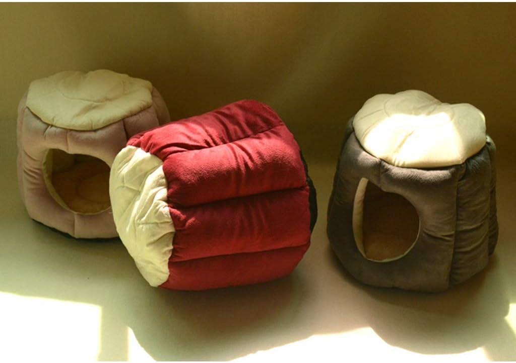 YUMUO Creative Doghouse Semi-clôturé Litière pour Chat Winter Warm Ins Nest House Litière pour Chat Deep Sleep Sac de Couchage pour Chats Villa (Couleur: Rouge, Taille: L) 6
