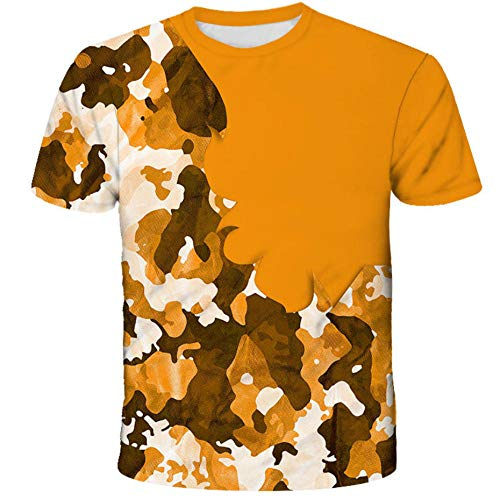 Camisetas Informales Novedosas De Verano, Mangas Cortas con Estampado De Camuflaje Pintado A La Moda, Camisetas Personalizadas con Cuello Redondo Tops-B_6XL