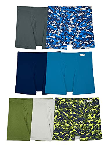 Fruit of the Loom Big Tag Free Cotton Boxer Briefs, Boy-7 Pack-Traditional Fly Covered Waist, Small