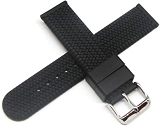 20MM Silicone/Rubber Watch Strap Band 7.5 Inches Black Silver Buckle