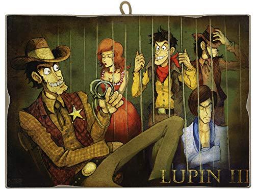 KUSTOM ART Quadro Quadretto Stile Vintage Serie Lupin III Dietro Le Sbarre da Collezione Stampa Laser su Legno Alta qualità Made in Italy - Idea Regalo