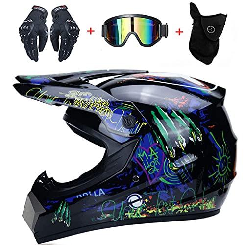 CDPC Motocross, Motocicleta Todoterreno de Motocross para Adultos, Motocicleta ATV, con Gafas, Guantes, máscara (S, M, L, XL)