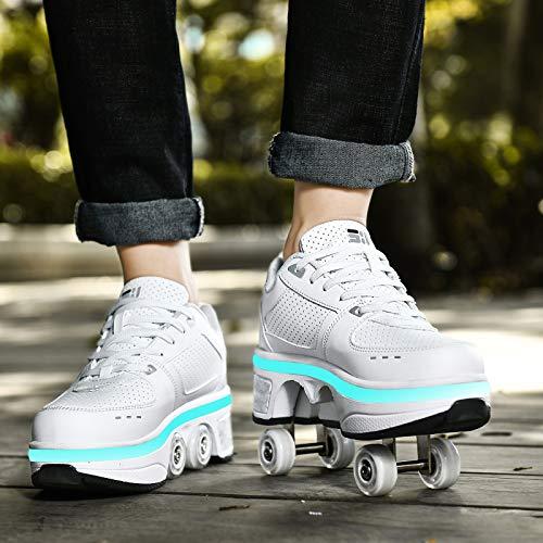 YXHUI Scarpe Roller LED per Bambini Unisex Multifunzione 2 in 1 Retrattile Doppie Ruote Scarpe da Skateboard da Skateboard Scarpe da Skate Roller da Allenamento per Sport,Silver(Lowtop)-EU40/UK6