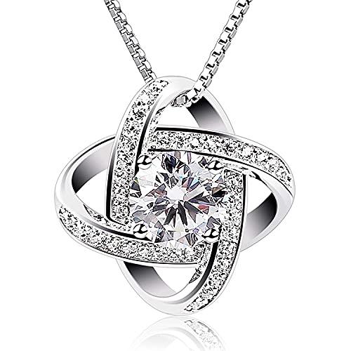 Victoria Kraft – Anillo mágico para mujer – Collar de plata 925 con circonitas – Juego de joyas para mujer con piedras con caja de regalo, regalo de cumpleaños