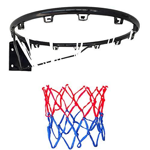 ZZLYY Canasta De Baloncesto Exterior,Aro De Baloncesto Hueco Reforzado,Adecuado para Deportes Y Fitness En Interiores Y Exteriores, con 2 Redes De Baloncesto, Negro