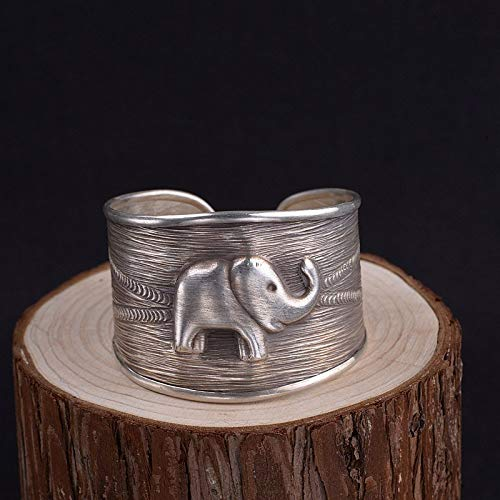 Angelazy 925 sterling zilveren armband voor vrouwen, mode vintage verstelbare handgemaakte olifant dier graveren patroon vorm Bangle voor dames jurk match