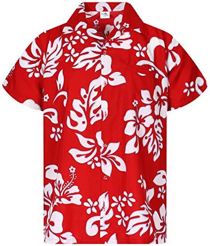 KING KAMEHA Funky Hawaiian Shirt, Shortsleeve, Hibiscus, Ferrarired, L