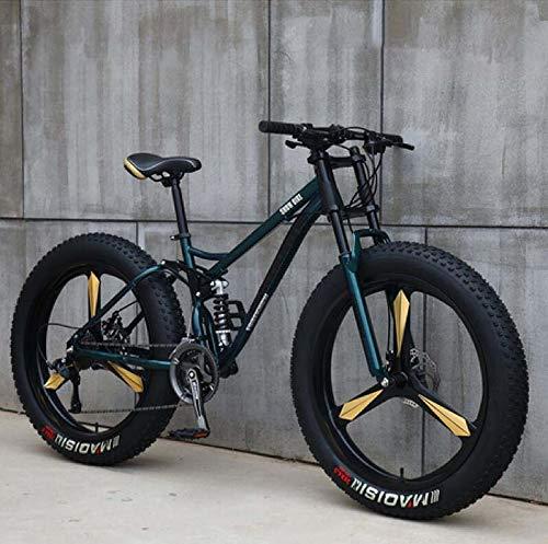 LJLYL - Bicicleta de montaña para hombre y mujer, cuadro de acero al carbono, freno de disco mecánico, ruedas de aleación de aluminio de 26 pulgadas, color cian, tamaño 7 speed