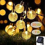 ソーラーライト イルミネーション 防雨 屋外 電球色 暖色 防犯 ガーデンライト LED50球ストリングライト 防水 クリスマス パーティー 全長7m バブル型