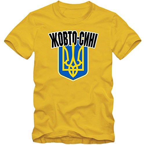 Ukraine Fußball 2018#4 T-Shirt | Fußball | Herren | Kiev |Donezk | Luhansk, Farbe:Gelb (Gold L190);Größe:XL