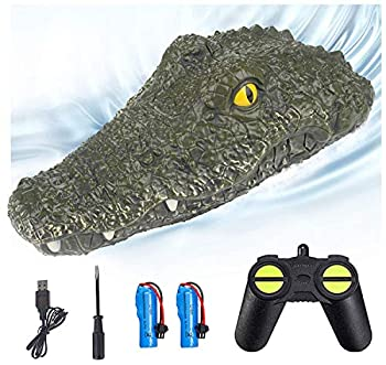 Eseesmart Remote Control Boat Electric RC Alligator Boat 2.4G High-Speed Simulation Crocodile Head Water Toys Waterproof Prank Toy for Pools and Lakes Floating Crocodile Head