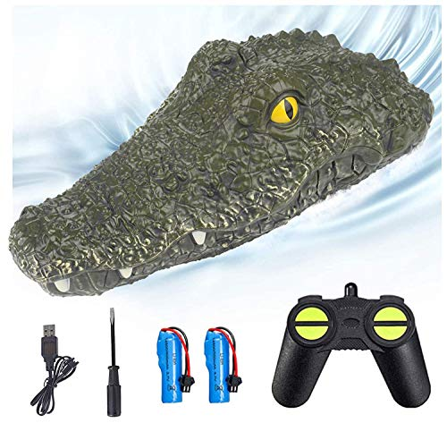 Eseesmart Remote Control Boat, Electric RC Alligator Boat, 2.4G High-Speed Simulation Crocodile Head Water Toys, Waterproof Prank Toy for Pools and Lakes, Floating Crocodile Head