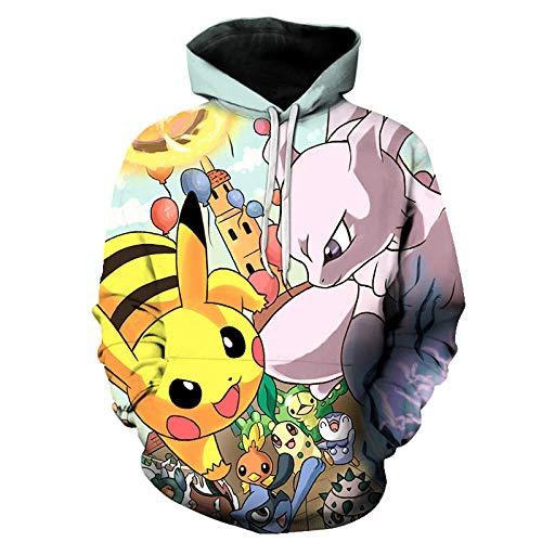 BAOGEGEDE Moda para Hombres Y Mujeres Sudadera con Capucha 3D Pokémon Print Pareja Camisa Casual Sudadera con Capucha Hombres Loose Road Hip Hop Ropa-Is-1108_XXXL