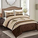 3 Pieces Royal Faux Silk Luxury Comforter Set Beige Brown Gold Luxury Embroidery Comforter Queen Size Bedding- Yasmen (Queen)