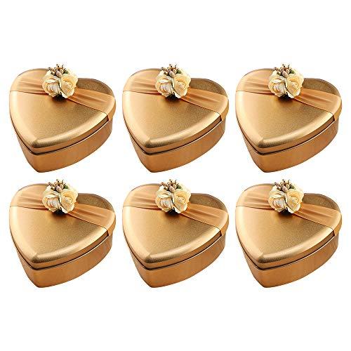 DAYOLY Tinplate Gift Box Mini Lege Metalen Snoepzakjes Suiker Chocolade Opbergdoos Organizer Container met Lint en Bloemen voor Bruiloft Verjaardagscadeaus