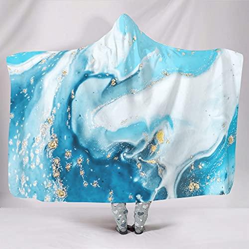 Vartanno Coperta con cappuccio Swirl Art Marmo Luxury Comforter Swirl art marmo Indossabile Coccolle Hoodie Coperta per Ufficio Bianco 152,4 x 203,2 cm
