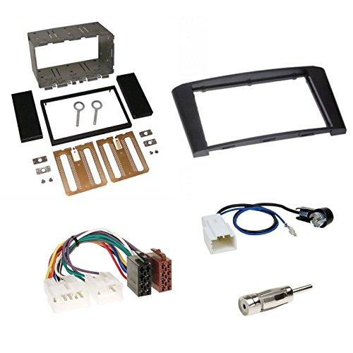 Einbauset: Autoradio Doppel-DIN 2-DIN Blende Einbaurahmen Radioblende schwarz + ISO Radio KFZ Adapter Radioadapter Radioanschlusskabel + Antennenadapter für Toyota Avensis (Typ T25) 02/2003 - 2009