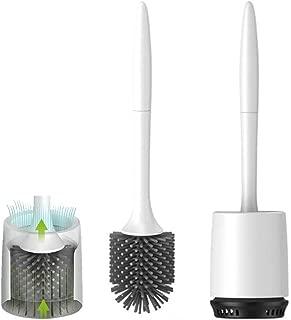 Ksruee Escobilla de Caño WC de Silicona y Soporte Montado en la Pared, Diseño Moderno Actualizado con Cepillo de Libre de Rincón Muerto, Transpirable, Fácil de Limpiar