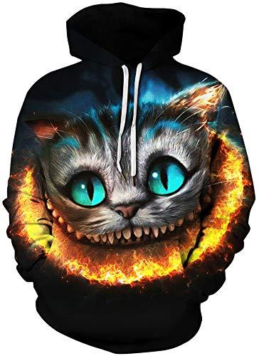 Imbry Herren Slim Fit Hoodie Long Sleeve Kapuzenpullover 3D Druck Muster Sweatshirt Pullover (S/M, Katze Panda)