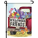 Home4Ever Summer Garden Flag - 12.5 x 18 Inch Double-Sided Welcome Friends Printed Art Outdoor Garden Banner - Premium Seasonal Welcome Banner for House Porch, Lawn, Deck - Suits Standard Stands