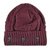 KISSBAOBEI Unisex Men Women Skull Knitted Beanie Hats Cap for Winter, Red, One Size