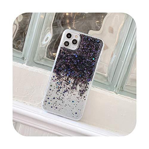 Moda Glitter Color Lentejuelas teléfono caso para iPhone 11 Pro XS Max X XR 8 7 Plus SE 2020 Bling Gradient Clear Soft TPU Back Cover-T1-Para iPhone 11Pro Max