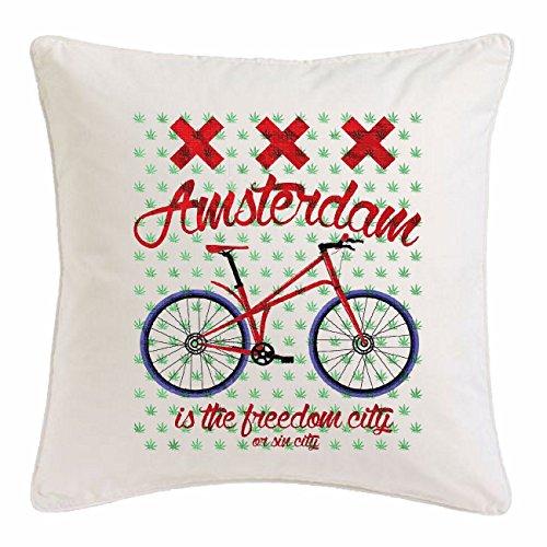 Bandenmarkt kussensloop 40x40cm Amsterdam fiets mountainbike fiets mountainbike fiets fietsreparatie fiets fiets ride microvezel in wit
