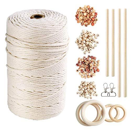 Kit de macramé para bricolaje 200 m x 3 mm, línea de tejido natural con 4 tipos de cuentas de madera, palo de madera, anillo de madera y llavero para hacer manualidades y plantas colgantes de pared