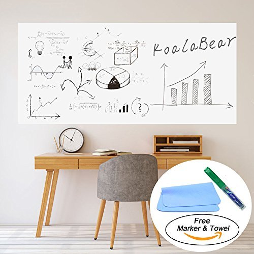 """KoalaBear Brand Dry Erase Sticker Office Wall Decal Peel and Stick Sheets Whiteboard Sticker Message Board 17""""x 78"""", with Two Free Markers"""