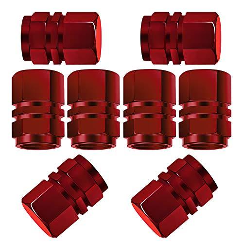 TOYMIS 8 Paquetes Tapas De Vástago De Válvula De Neumático De Aluminio con Junta Cubiertas De Válvula Hexagonales Universales De Repuesto para Automóviles SUV Bicicletas Bicicletas (Rojo)