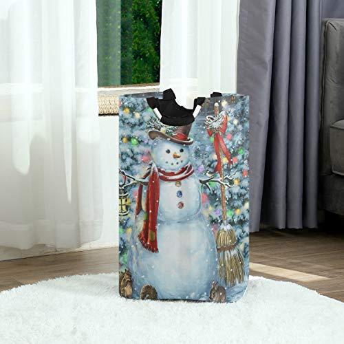 ZOANEN Wäschesack,Winter Schneemann Weihnachtsbaum Lustige Tiere Kardinal Vogel Eichhörnchen Kaninchen Schneeflocken,Großer faltbarer Wäschekorb,zusammenklappbarer Wäschekorb
