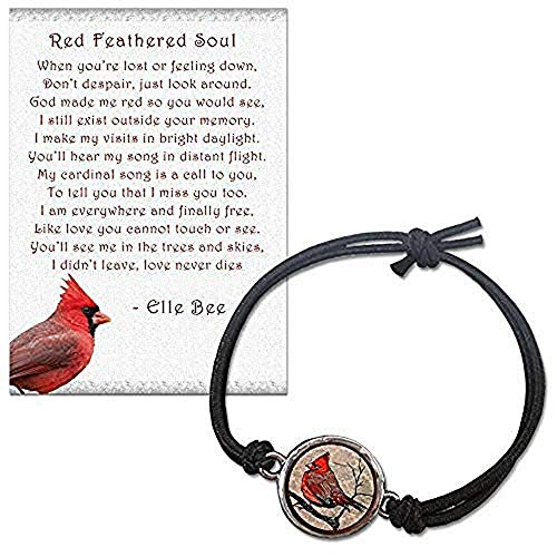 Lola Bella Gifts and Spirit Lala Cardinal Reversible Size Small - Medium Stretch Bracelet with Backside Our Love Never Dies with Red Feathered Soul Poem Card, Gift Box Grief Sympathy Gift