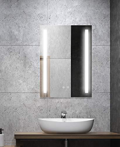 ALLDREI Antibeschlag Badspiegel mit Beleuchtung AD27A Badezimmerspiegel mit LED licht, Touch Schalter – Senkrecht Montage 50 x 70 cm, Wasserdicth IP44, Weiß Lichtfarbe, Energieklasse A++