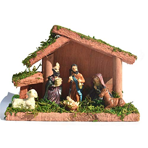 Easter Decoration Ornaments Nativity Sets Figurines Mary Magdalene Angels Peter and John and Resurrected Christ Crosses Spring Garden Statues Ornaments Easter Party Favor Gift for Kids (B, 16x11CM)