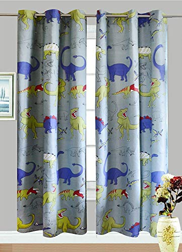 "Fancy Linen Collection 2 panel curtain set with grommet DINOSAUR Grey blue Yellow size 80""x84"""