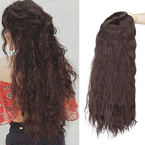Clip in Extensions Haarteil Topper Toupet Corn Wavy wie Echthaar Perücken mit 3 Clips für Frauen Gewellt Dunkelbraun 20