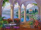 Kit de pintura de diamantes casa junto al mar bordado de diamantes venta paisaje flor imágenes de diamantes de imitación mosaico decoración del hogar A1 40x50cm