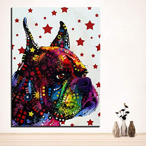 Pintura Boxer Perro Mascota decoración del hogar Puzzle Adulto 1000 Piezas Se Puede Usar como un Juego de Rompecabezas o Pelota de estrés para Adultos 50x75cm