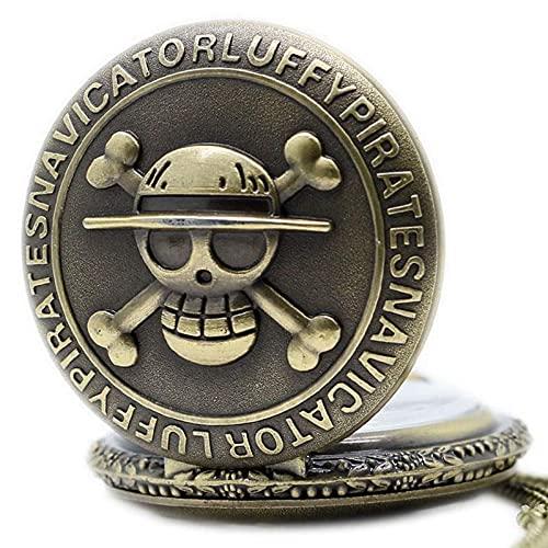 Overlord Reloj de bolsillo de una sola pieza para hombre y mujer, collar de cadena retro steampunk (color: 30 cm, cadena 2)