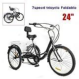 MOMOJA - Triciclo para adultos, 24 pulgadas, plegable, 7 posiciones, 3 ruedas, para adultos, con cesta de la compra