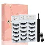 False Eyelashes with Self Adhesive Eyeliner Kit, 10 Pairs of Non Magnetic Lashes and Liquid Eyeliner No Glue Needed
