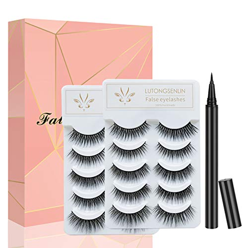 False Eyelashes with Self Adhesive Eyeliner Kit, 10 Pairs of Non Magnetic Lashes and Liquid Eyeliner No Glue Needed