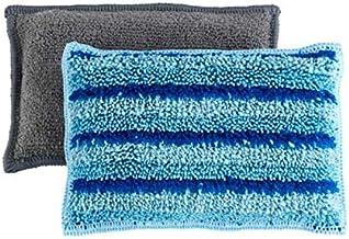 WENKO Microfiber spoelspons Miko, 2-delige set serviesspons, huishoudspons, polyester, 14 x 3 x 9 cm, blauw