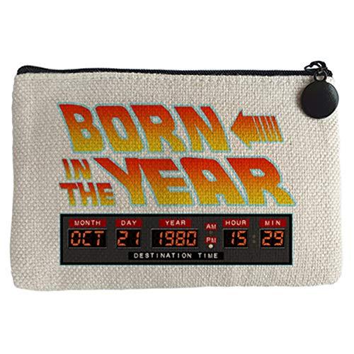 Monedero Born In The Year personalizable con año de nacimiento parodia friki de Regreso al futuro - Beige, 15 x 10 cm