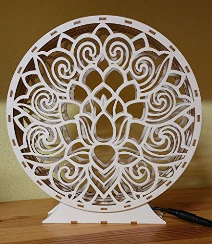 Lotus Blume LED Beleuchtet Holz | Ambientelicht | Dekoration | Tischdeko |LED Beleuchtet | Ambientelicht