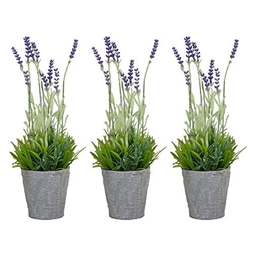 Set de 3 Macetas con Lavanda Artificial, Planta de Lavandula Decorativa para Interior, Flores Decorativas Falsas para Hogar con Maceta Gris
