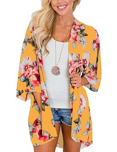 Women's Kimono Flowy Cardigan Chiffon Beach Open Front Cover Up Tops S Yellow