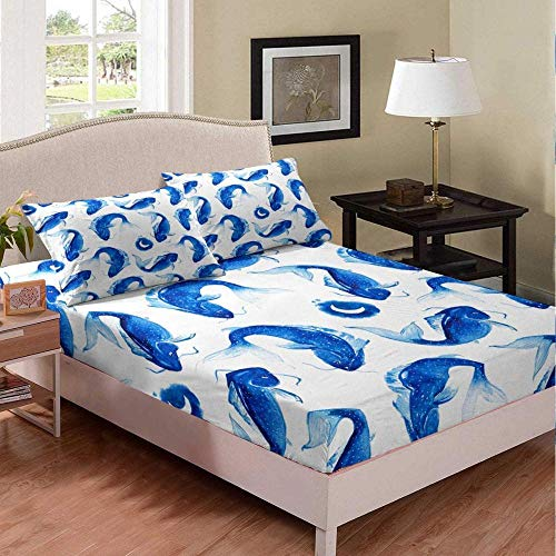 Msortatnl Simple Blue White Whale Animal - Duvet Cover And 2 Pillowcase Bed Set, Cotton And Polyester, Single (135 X 200 Cm)