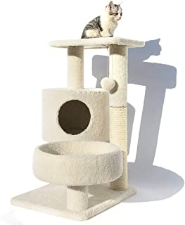 Large Cat Tree Stand, Multi-Level Cat Tower House Condo, Activity Centre with Scratching Posts, Pet Play House with Teasin...